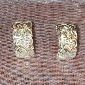 Hawaiian scroll Plumaria silver half hoop earrings